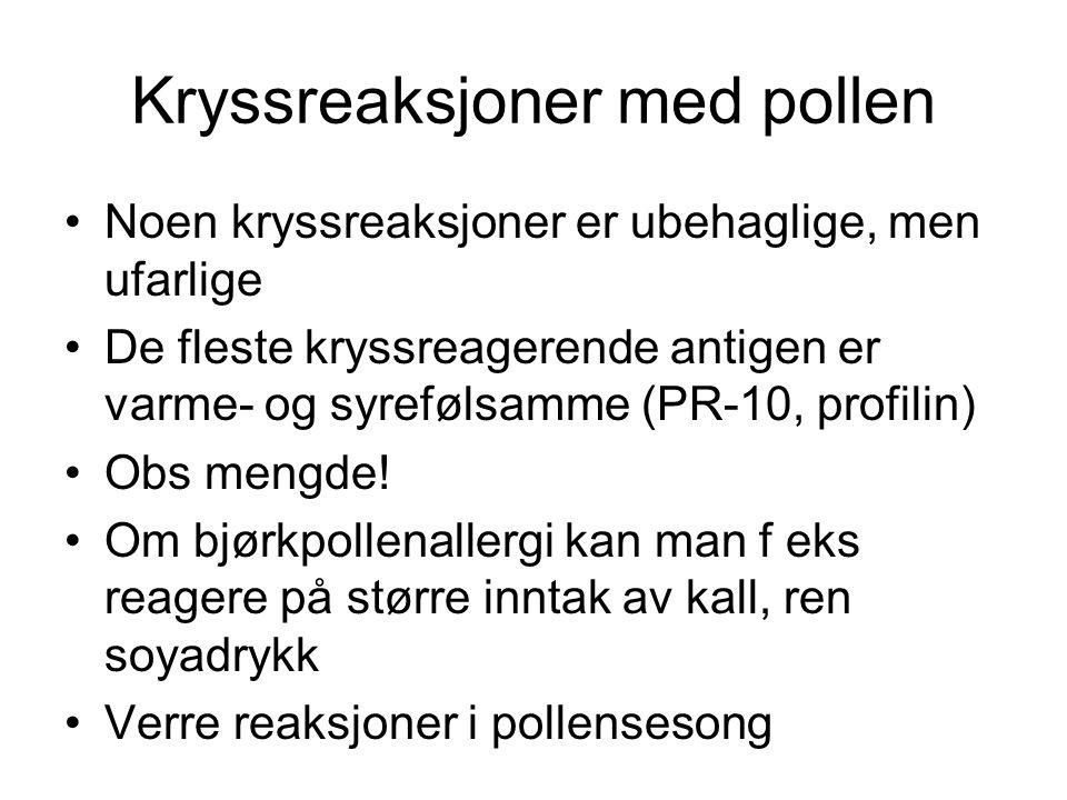 Kryssreaksjoner med pollen