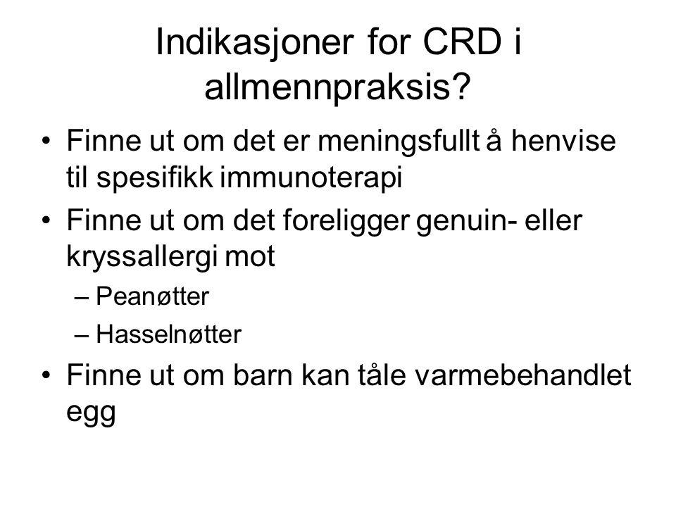 Indikasjoner for CRD i allmennpraksis
