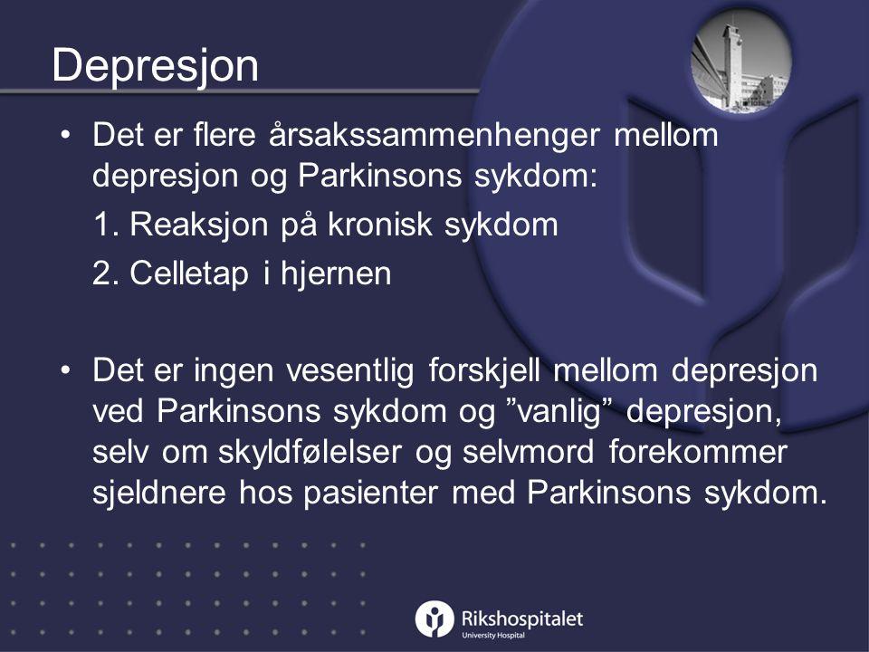 Depresjon Det er flere årsakssammenhenger mellom depresjon og Parkinsons sykdom: 1. Reaksjon på kronisk sykdom.