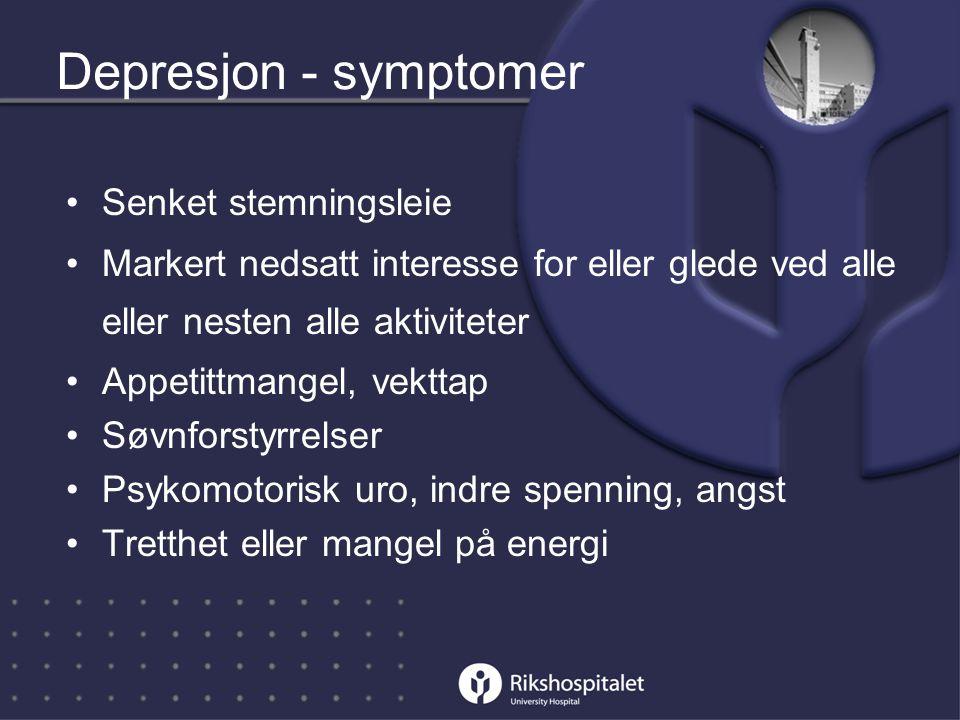 Depresjon - symptomer Senket stemningsleie