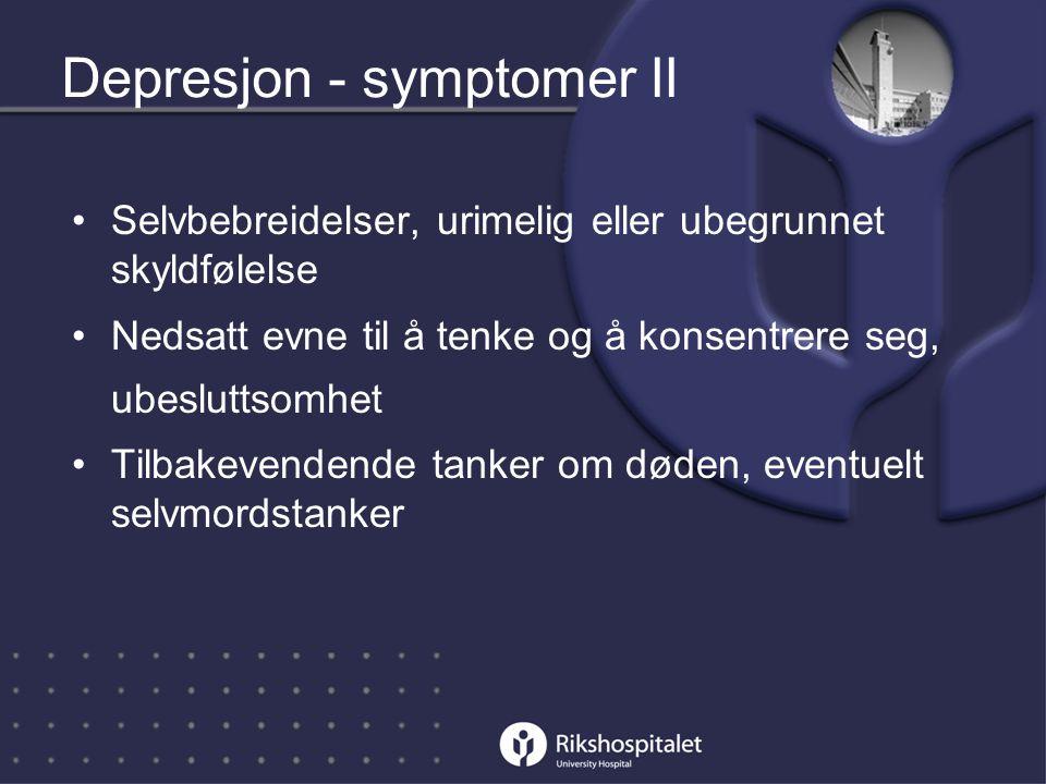 Depresjon - symptomer II