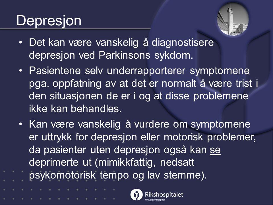 Depresjon Det kan være vanskelig å diagnostisere depresjon ved Parkinsons sykdom.