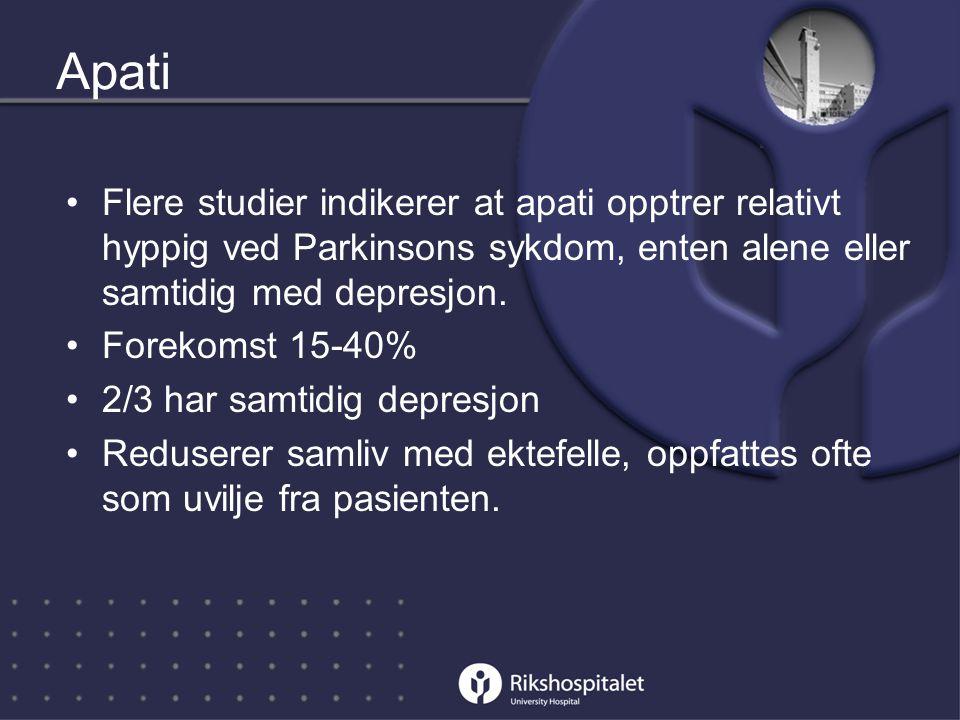 Apati Flere studier indikerer at apati opptrer relativt hyppig ved Parkinsons sykdom, enten alene eller samtidig med depresjon.