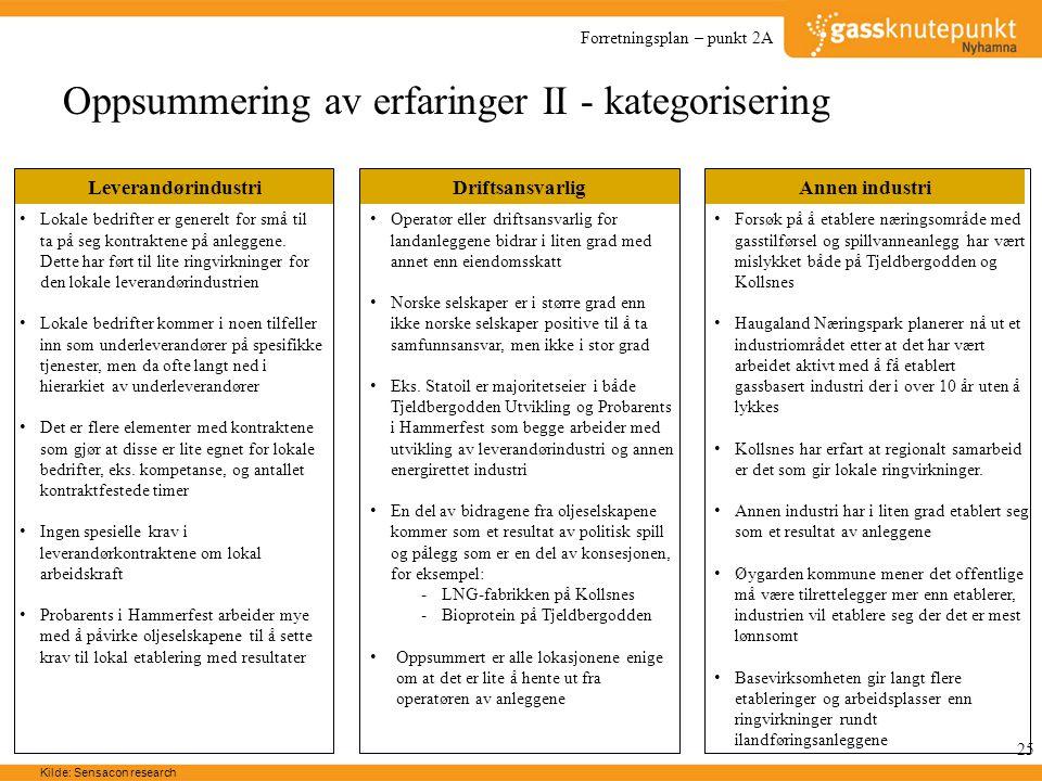 Oppsummering av erfaringer II - kategorisering
