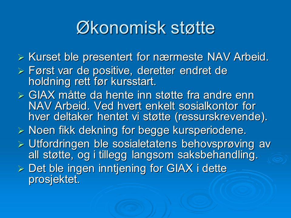 Økonomisk støtte Kurset ble presentert for nærmeste NAV Arbeid.