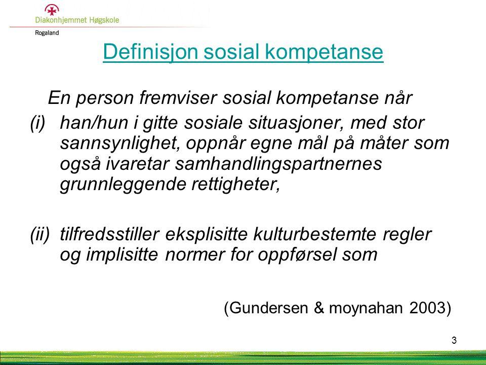 Definisjon sosial kompetanse