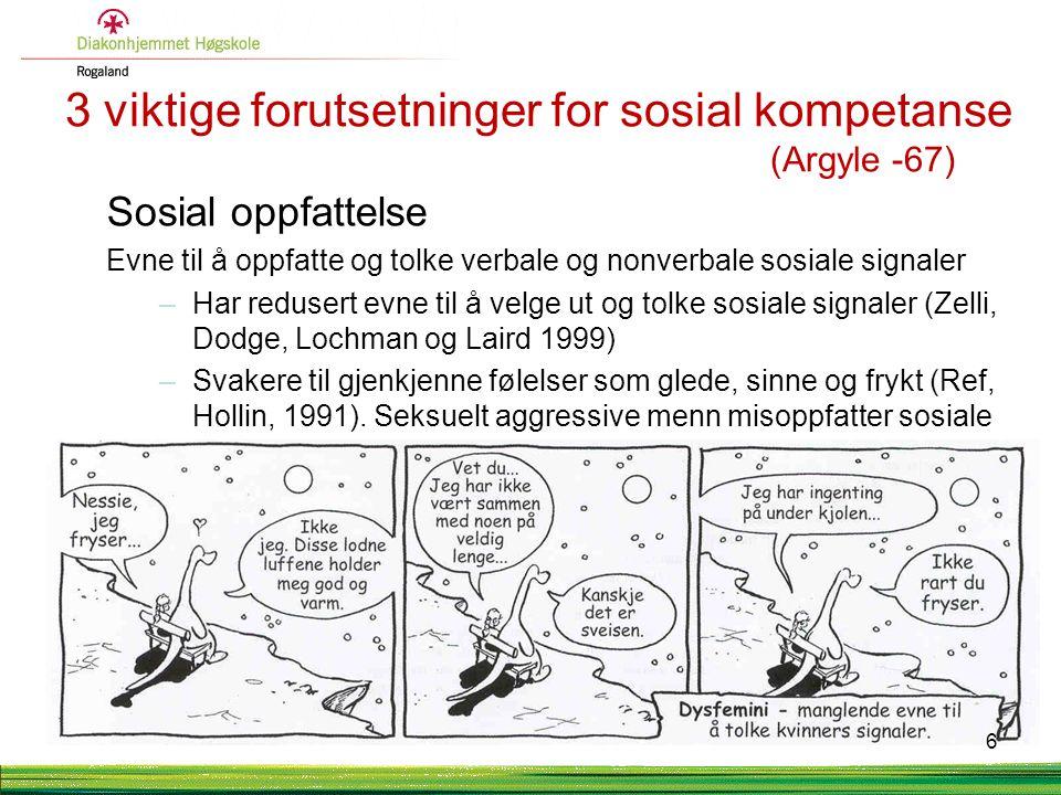 3 viktige forutsetninger for sosial kompetanse (Argyle -67)