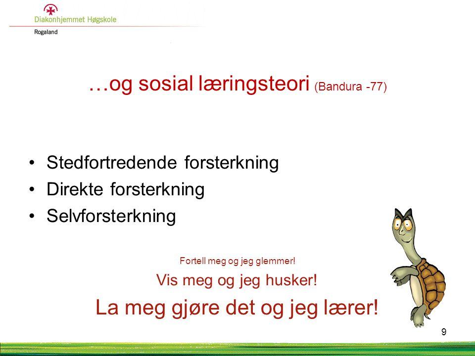 …og sosial læringsteori (Bandura -77)