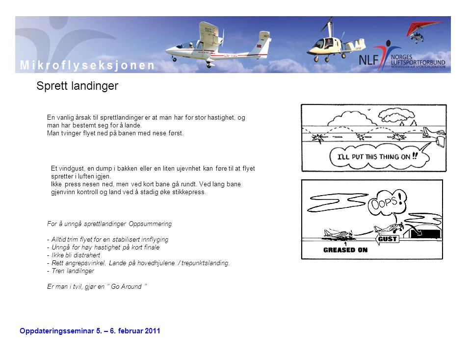 Sprett landinger En vanlig årsak til sprettlandinger er at man har for stor hastighet, og man har bestemt seg for å lande.