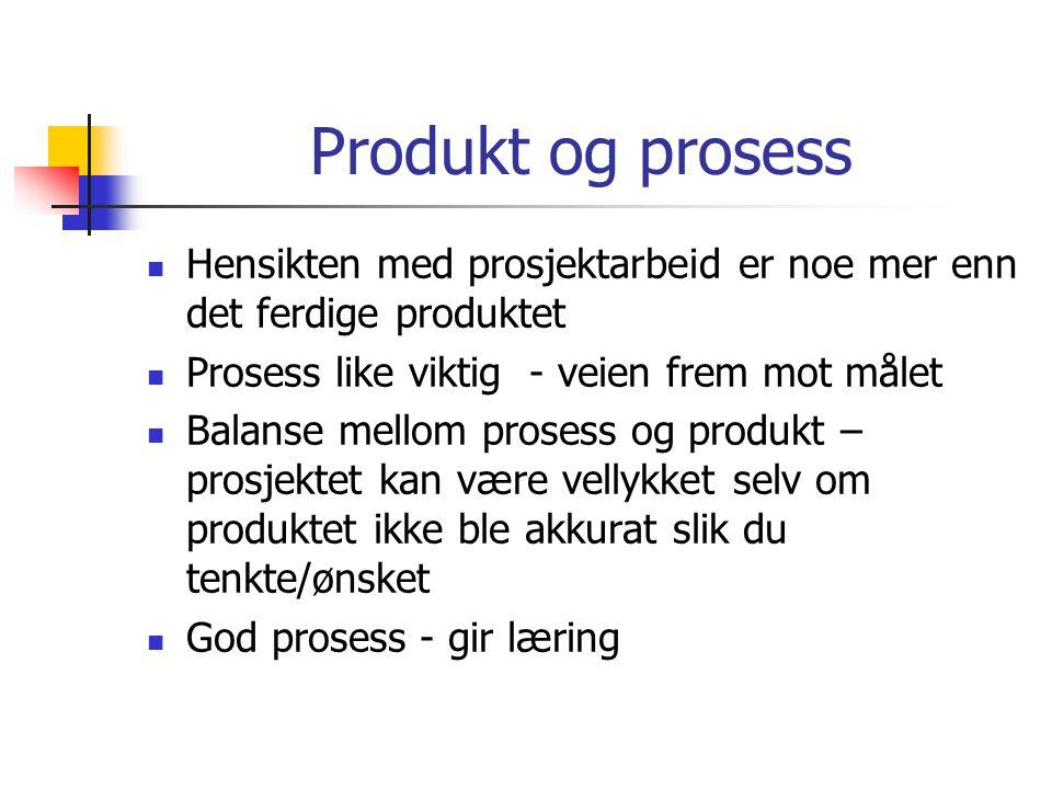 Produkt og prosess Hensikten med prosjektarbeid er noe mer enn det ferdige produktet. Prosess like viktig - veien frem mot målet.