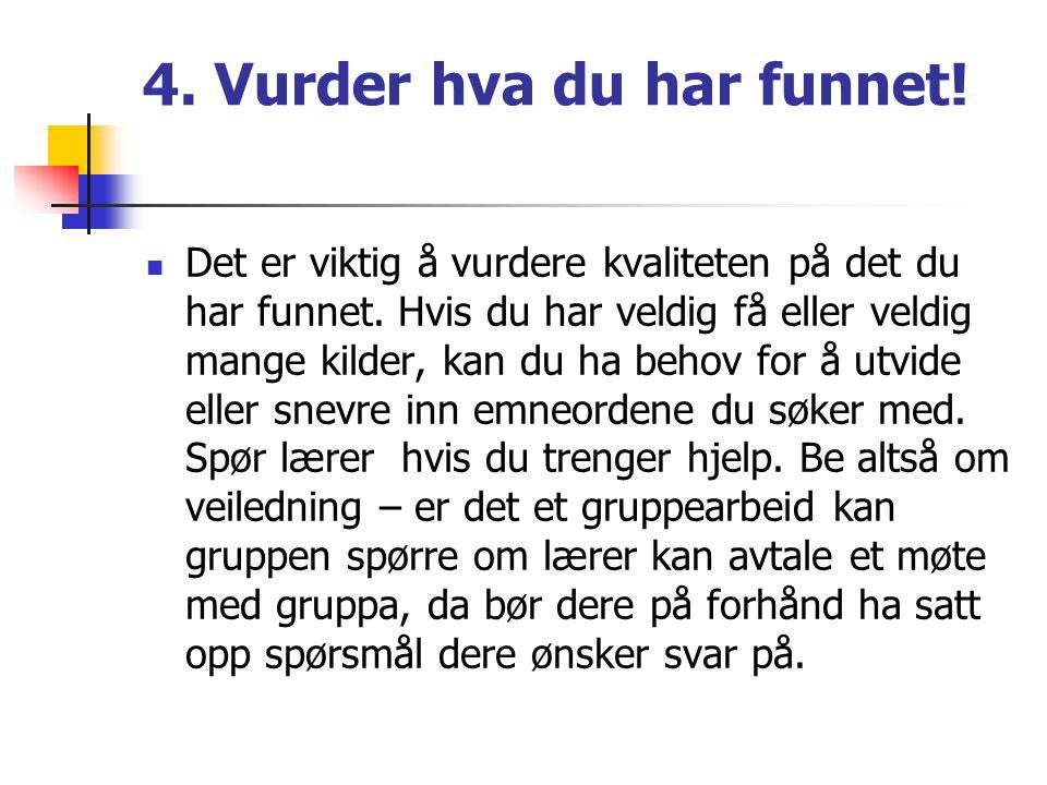4. Vurder hva du har funnet!