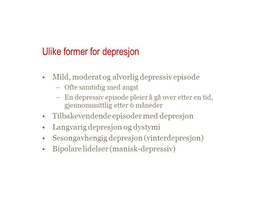 Ulike former for depresjon