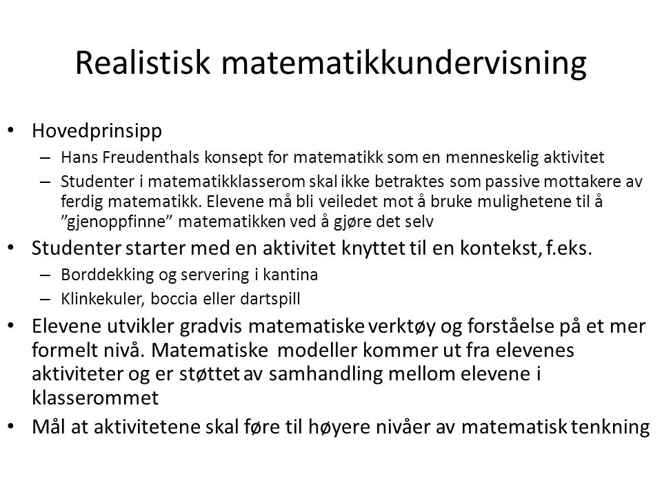 Realistisk matematikkundervisning