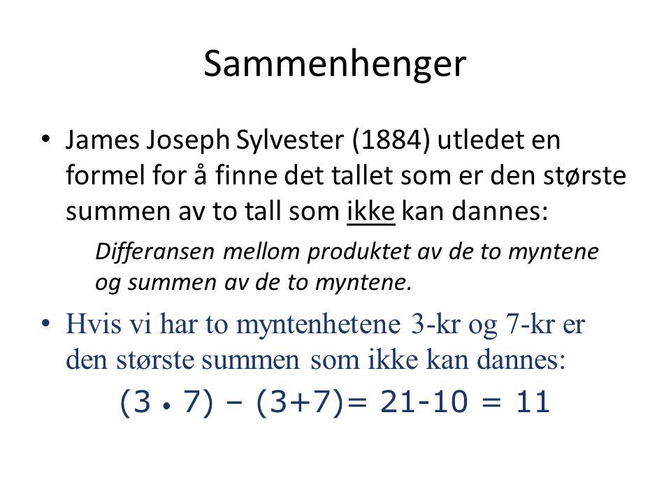 Sammenhenger James Joseph Sylvester (1884) utledet en formel for å finne det tallet som er den største summen av to tall som ikke kan dannes: