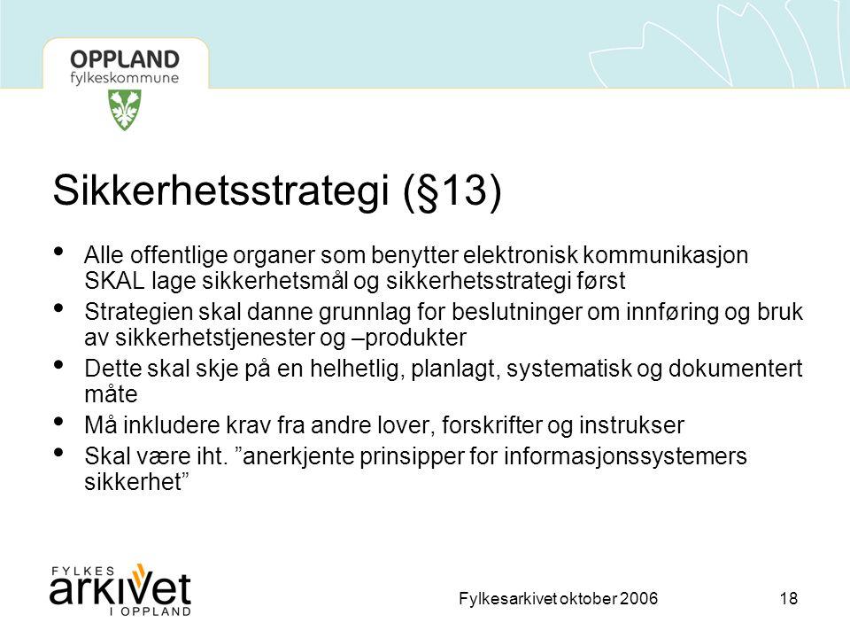 Sikkerhetsstrategi (§13)