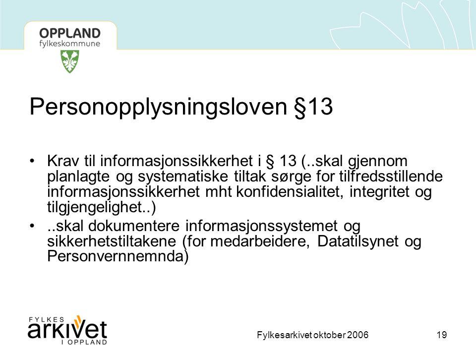 Personopplysningsloven §13