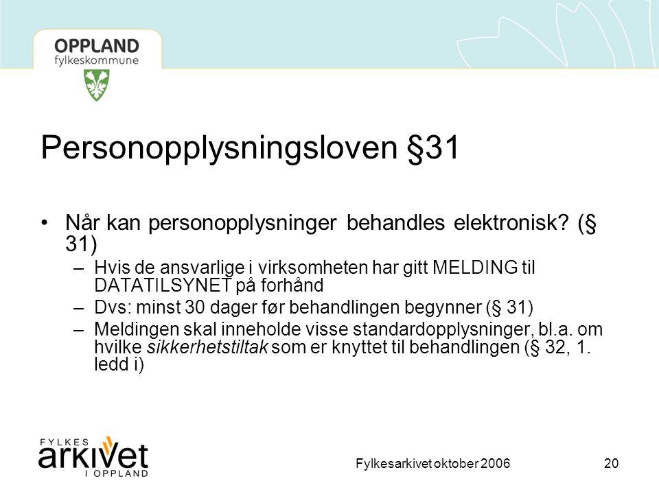 Personopplysningsloven §31