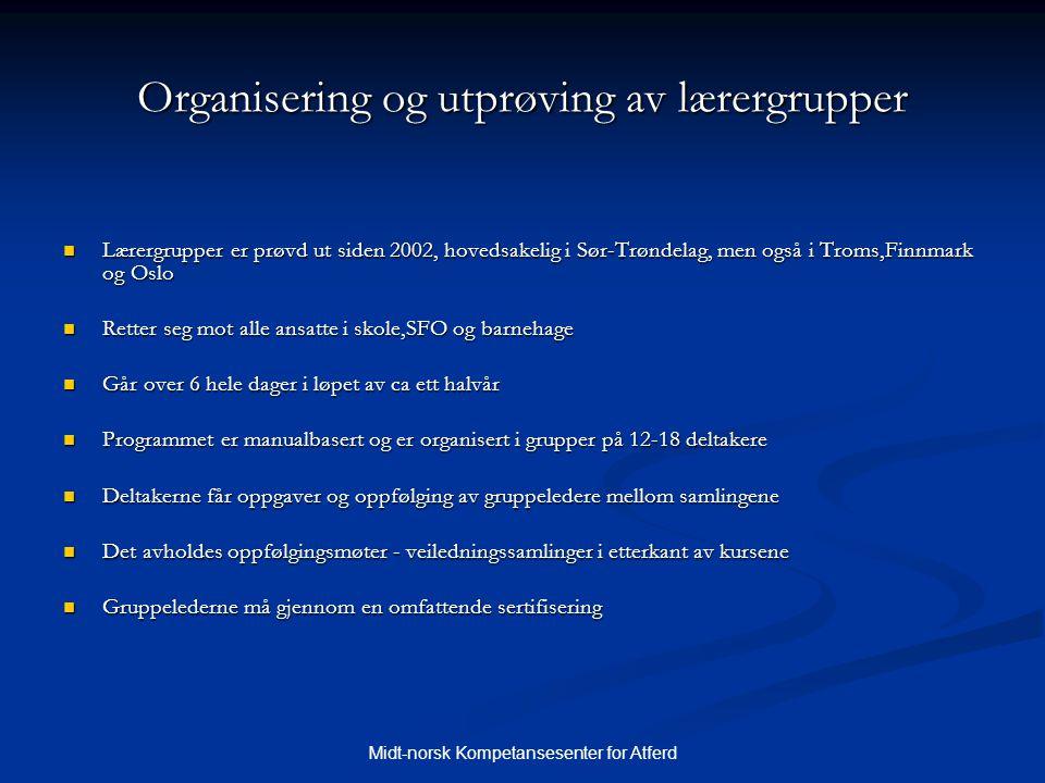 Organisering og utprøving av lærergrupper
