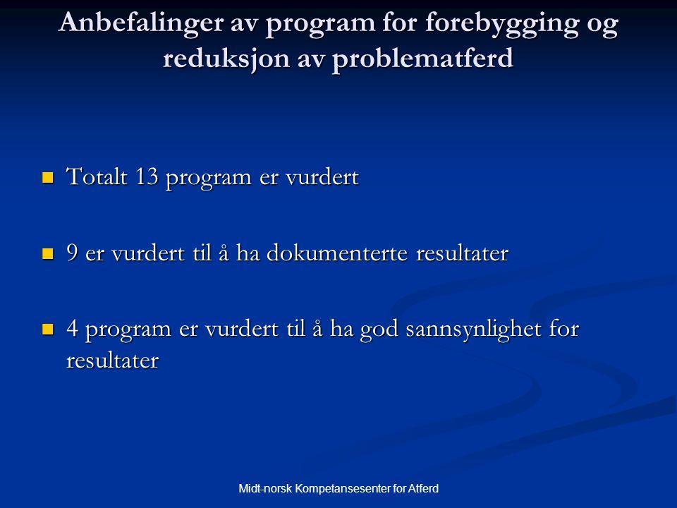 Anbefalinger av program for forebygging og reduksjon av problematferd