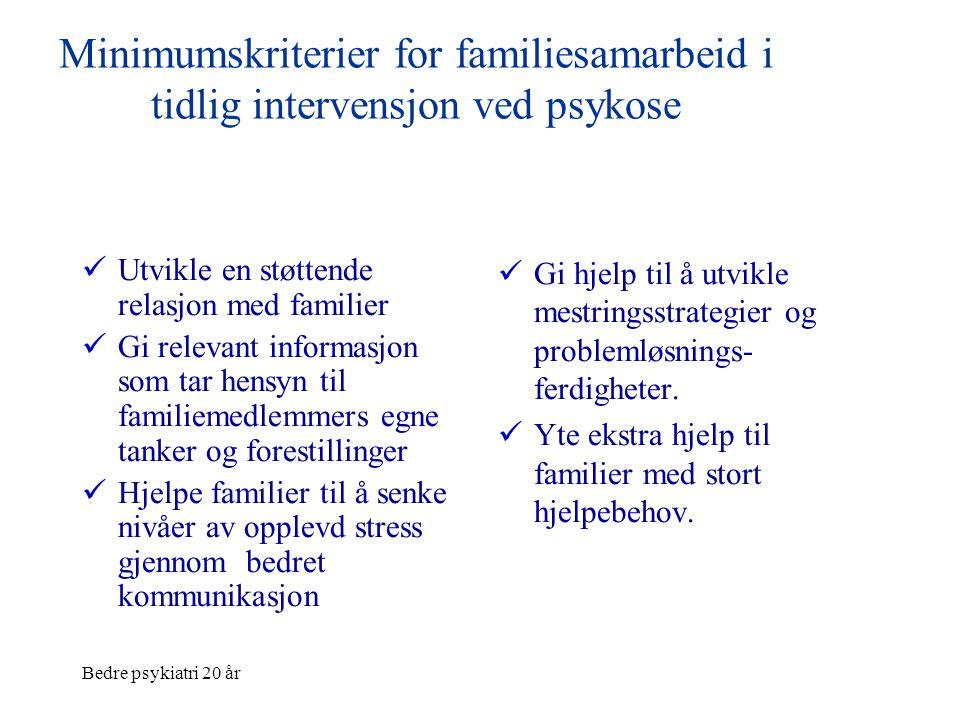 Minimumskriterier for familiesamarbeid i tidlig intervensjon ved psykose