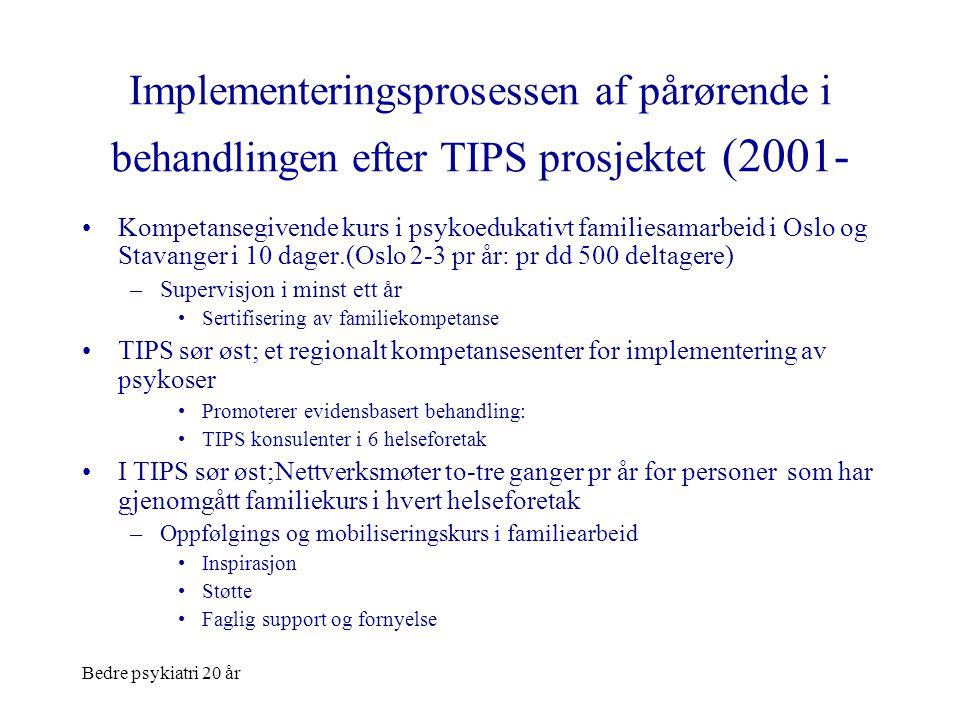 Implementeringsprosessen af pårørende i behandlingen efter TIPS prosjektet (2001-