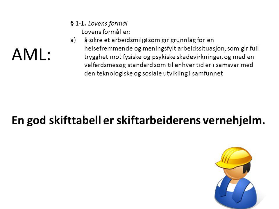 AML: En god skifttabell er skiftarbeiderens vernehjelm.