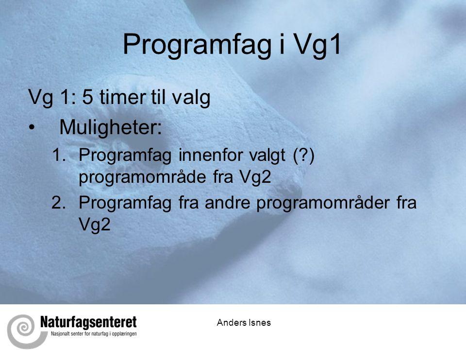 Programfag i Vg1 Vg 1: 5 timer til valg Muligheter: