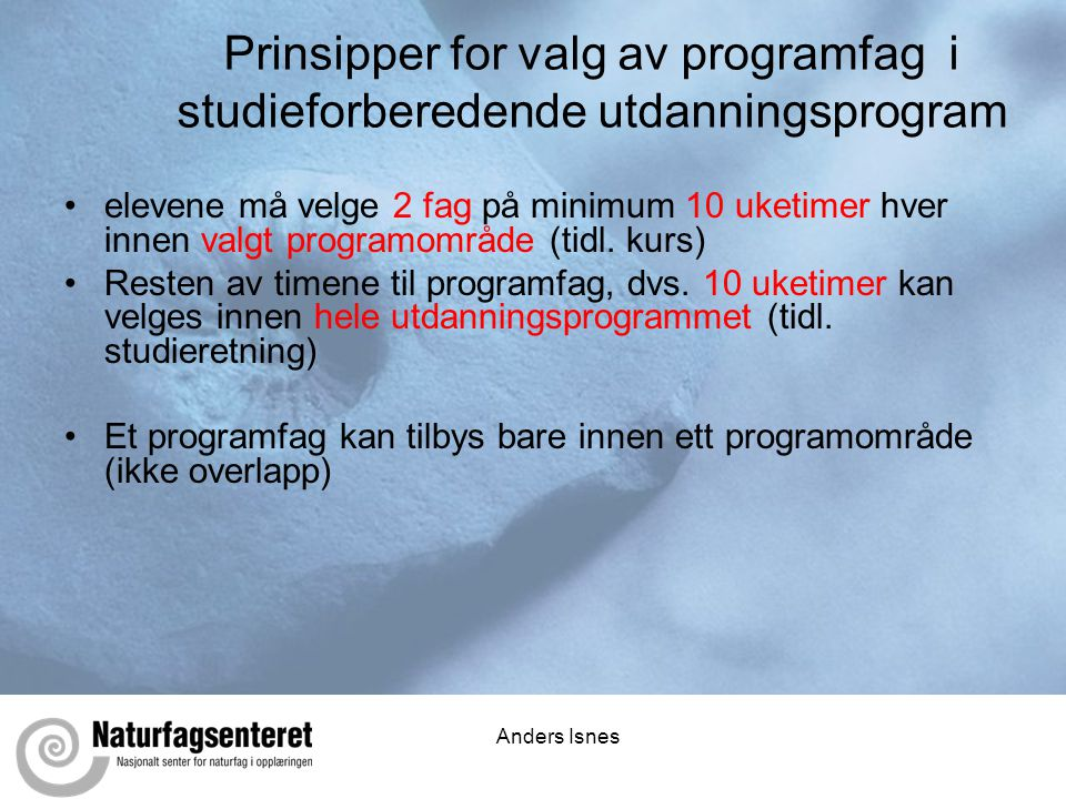 Prinsipper for valg av programfag i studieforberedende utdanningsprogram