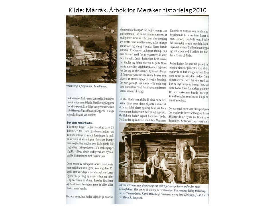 Kilde: Mårråk, Årbok for Meråker historielag 2010