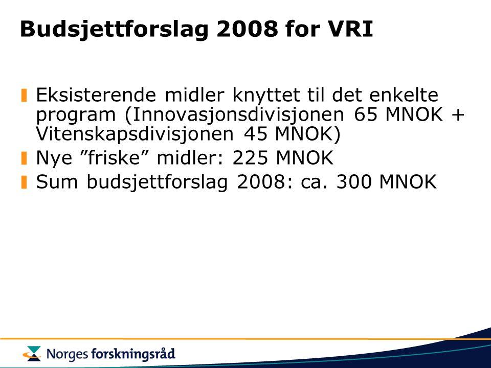 Budsjettforslag 2008 for VRI
