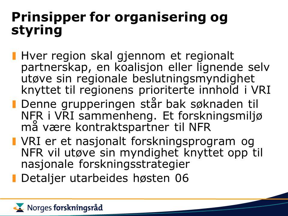 Prinsipper for organisering og styring
