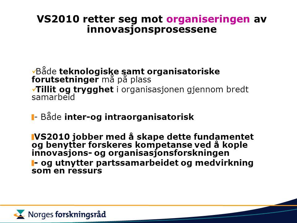 VS2010 retter seg mot organiseringen av innovasjonsprosessene