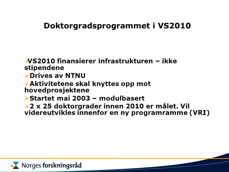 Doktorgradsprogrammet i VS2010