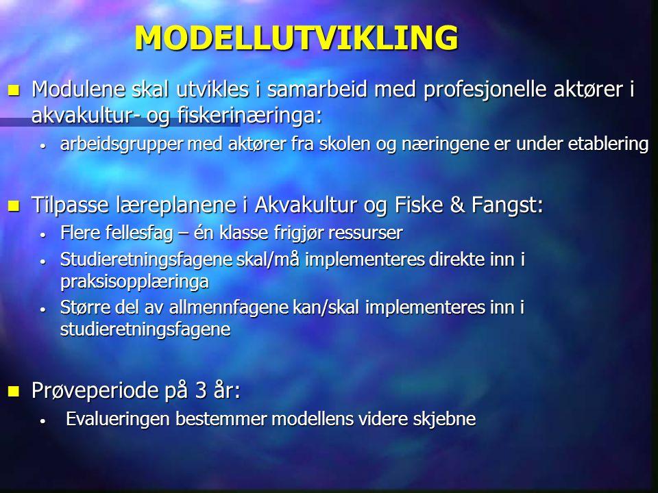 MODELLUTVIKLING Modulene skal utvikles i samarbeid med profesjonelle aktører i akvakultur- og fiskerinæringa: