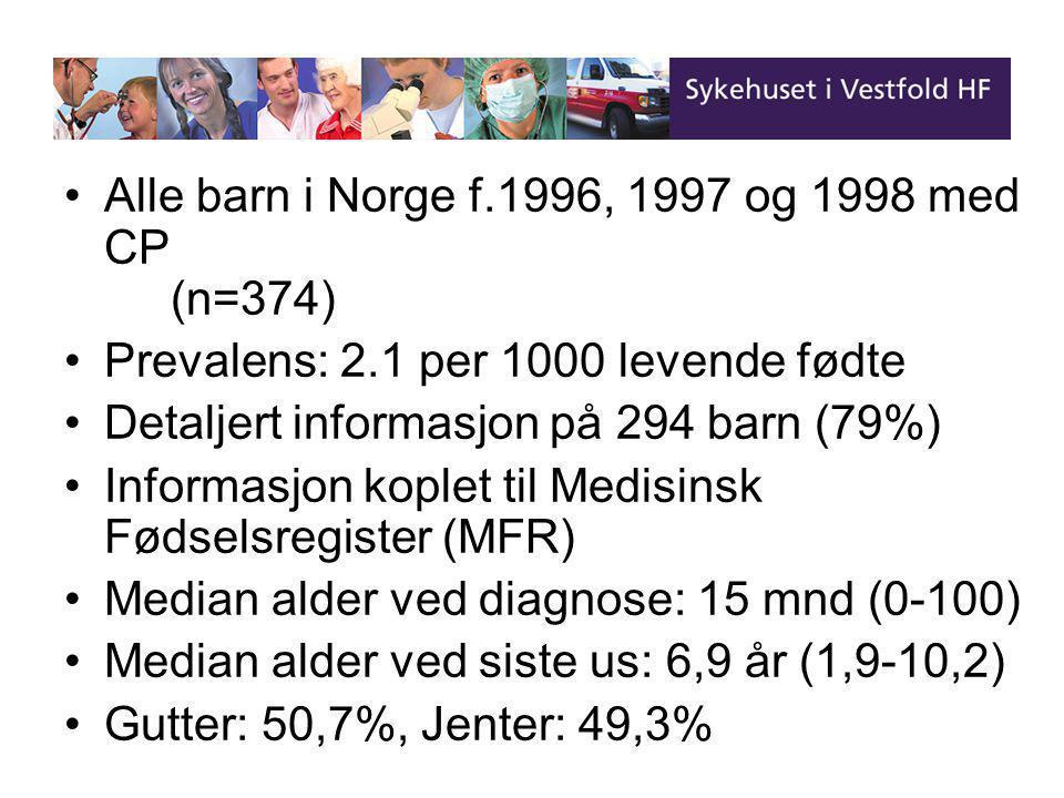 Alle barn i Norge f.1996, 1997 og 1998 med CP (n=374)