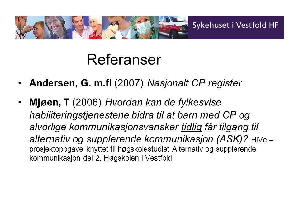 Referanser Referanser Andersen, G. m.fl (2007) Nasjonalt CP register