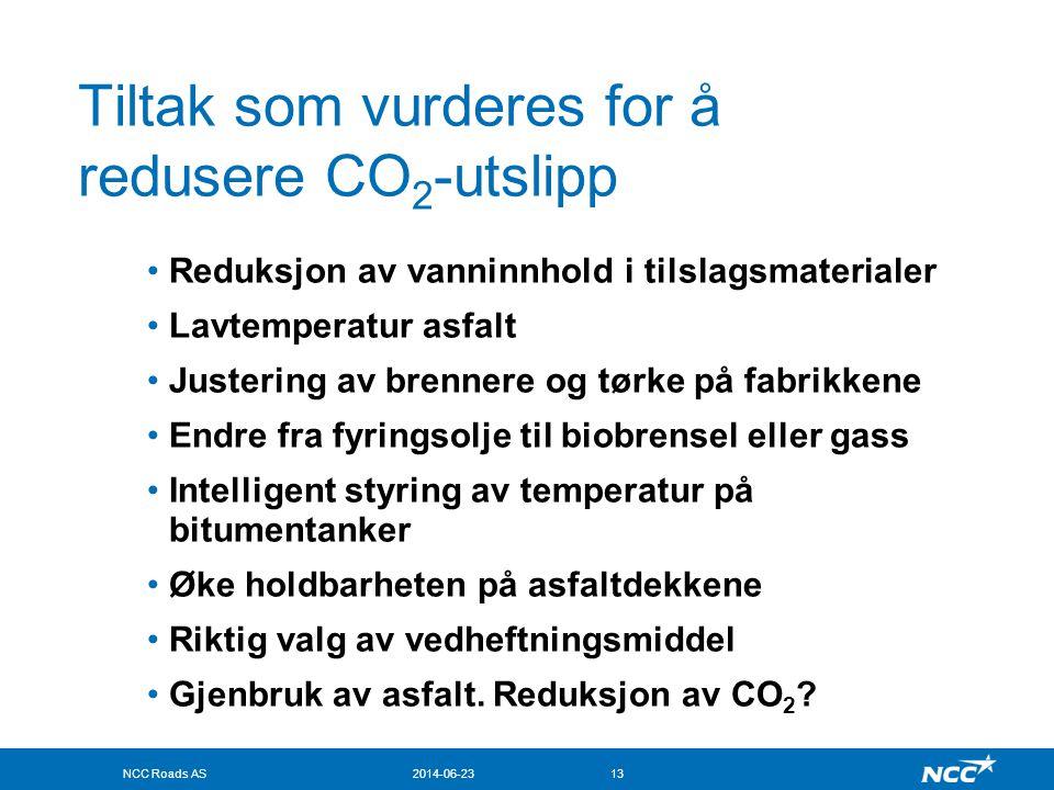 Tiltak som vurderes for å redusere CO2-utslipp