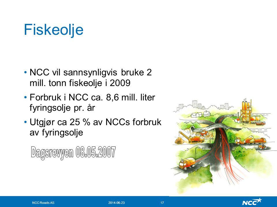 Fiskeolje NCC vil sannsynligvis bruke 2 mill. tonn fiskeolje i 2009. Forbruk i NCC ca. 8,6 mill. liter fyringsolje pr. år.