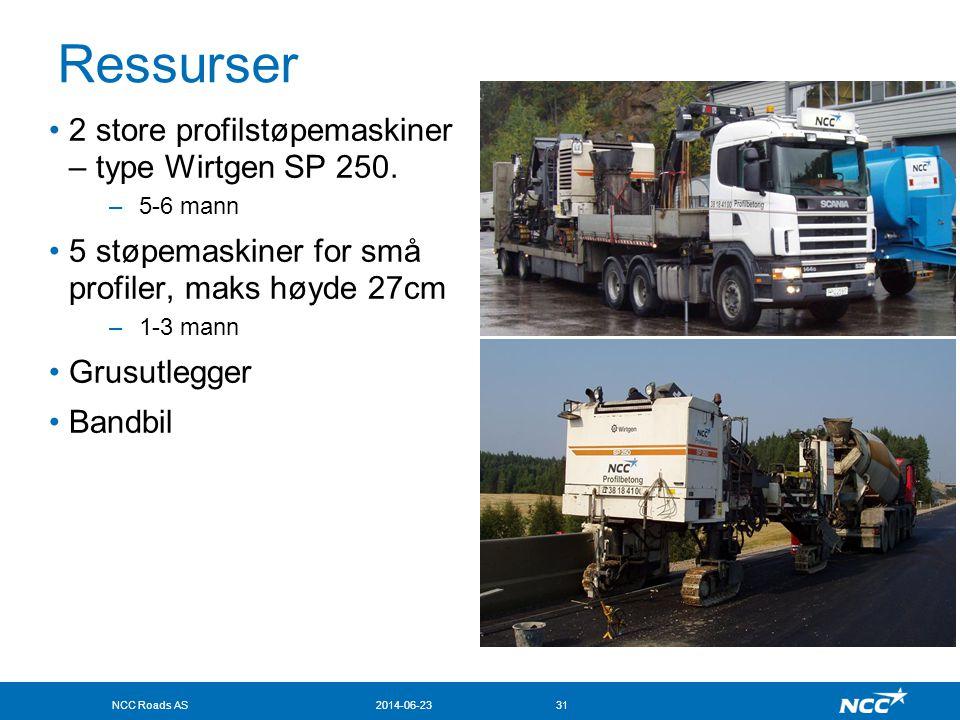 Ressurser 2 store profilstøpemaskiner – type Wirtgen SP 250.