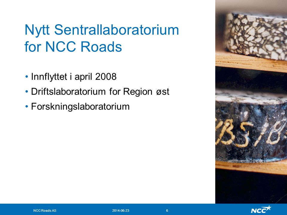 Nytt Sentrallaboratorium for NCC Roads