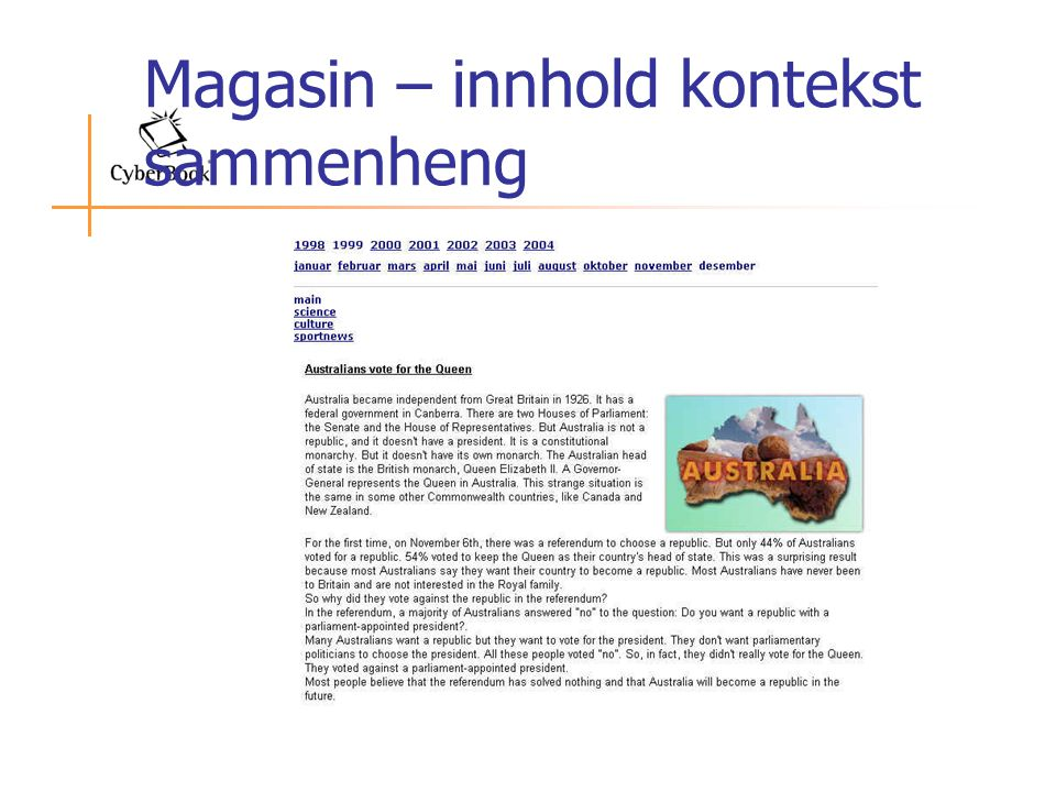 Magasin – innhold kontekst sammenheng