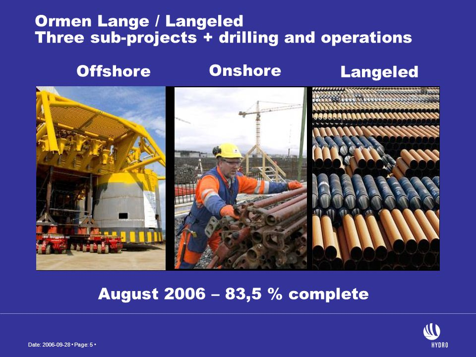 Ormen Lange / Langeled Three sub-projects + drilling and operations