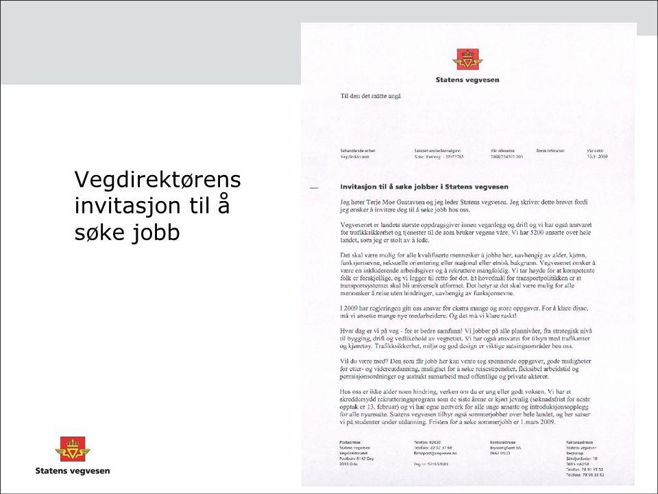 Vegdirektørens invitasjon til å søke jobb
