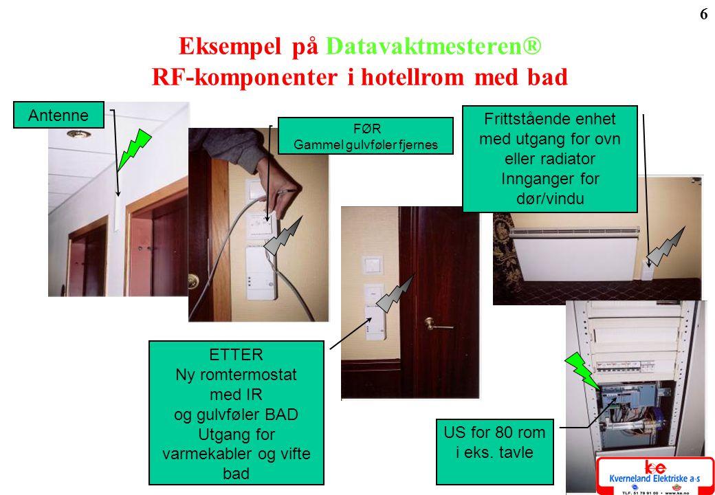 Eksempel på Datavaktmesteren® RF-komponenter i hotellrom med bad