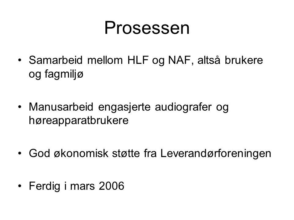 Prosessen Samarbeid mellom HLF og NAF, altså brukere og fagmiljø