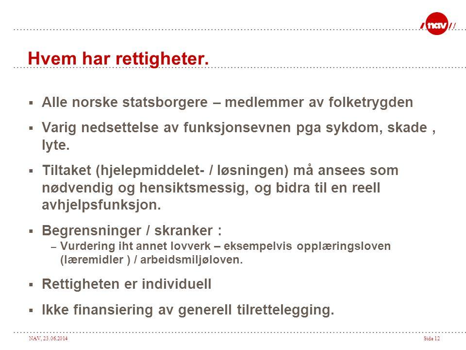 Hvem har rettigheter. Alle norske statsborgere – medlemmer av folketrygden. Varig nedsettelse av funksjonsevnen pga sykdom, skade , lyte.