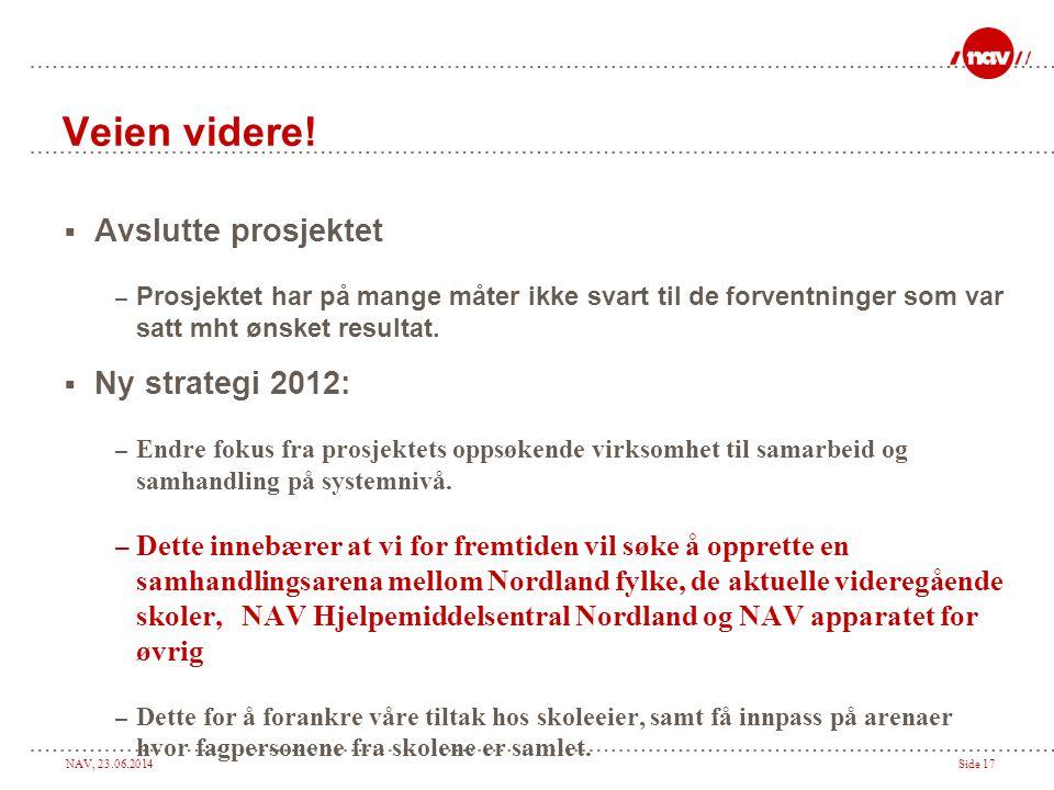 Veien videre! Avslutte prosjektet Ny strategi 2012: