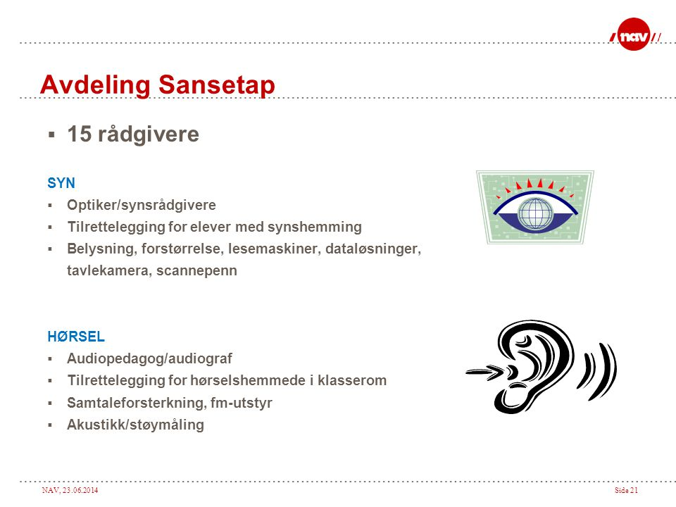Avdeling Sansetap 15 rådgivere SYN Optiker/synsrådgivere