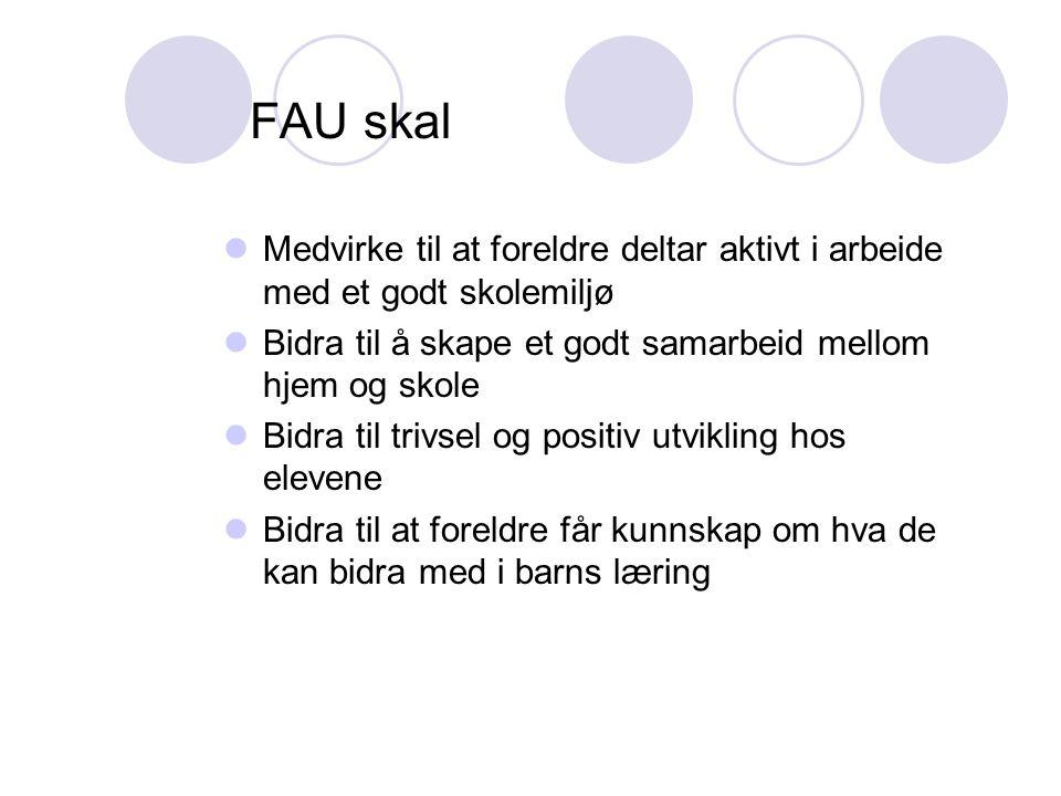 FAU skal Medvirke til at foreldre deltar aktivt i arbeide med et godt skolemiljø. Bidra til å skape et godt samarbeid mellom hjem og skole.