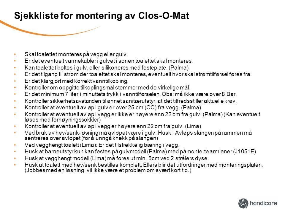Sjekkliste for montering av Clos-O-Mat